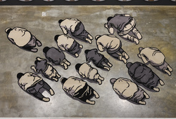 People Prostration Seen From a Height of 720cm