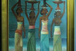 Empat Gadis Bali dengan Sajen