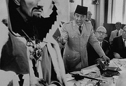 washington dc may 1956Indonesian President Sukarno (C) speaking at an unidentified meeting